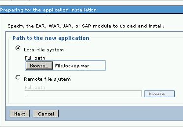 Select the FileJockey.war file