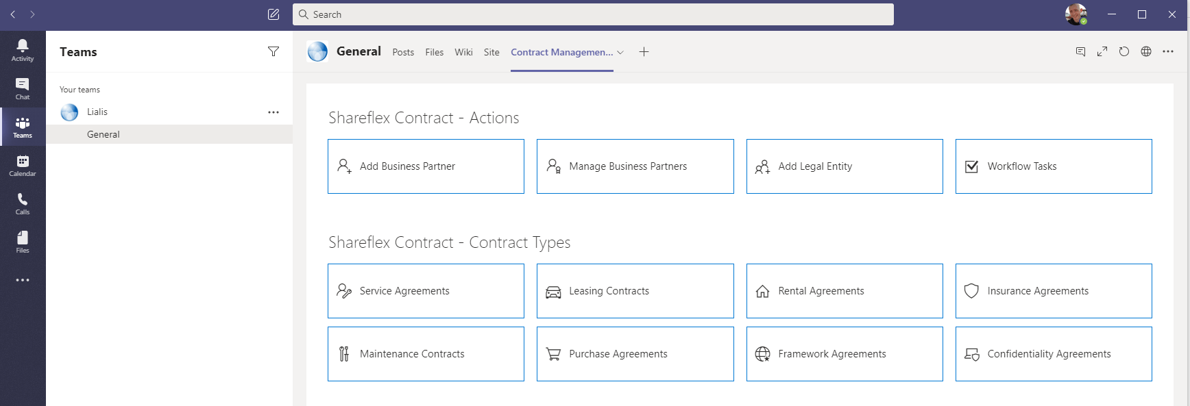 Shareflex support for Microsoft Teams - Contract Management